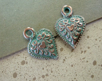 Metal Heart Charms with Green Patina on Copper (2)