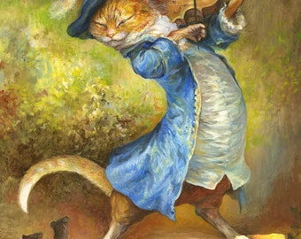 Cat with Fiddle (print) puss in boots, violin, rats, musician