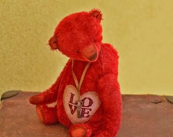 Teddy bear Love  (26cm) 10.24 in Stuffed animals Soft toy Artist Teddy bear Stuffed bear Mohair teddy bear