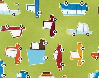 SALE Caleb Gray, On The Road, Cars on Chartreuse Fabric - 1 Yard