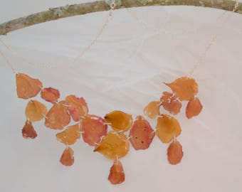 Rose petals necklace and earring set 3