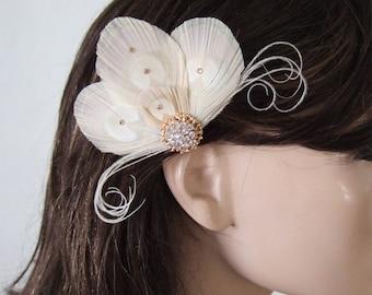 "Cream Gold Silver Bridal Fascinator Hair Clip ""Nina"" Bridesmaids Bride Flapper Gatsby Party Woodland Wedding Elegant Vintage Feel Hair Clip"