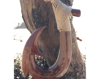 Fish Hook Necklace, Mens Hawaiian Jewelry, Hawaiian Brown Fish Hook Necklace, Koa Wood Necklace, Maori Necklace, Hei Matau, Wood Pendant