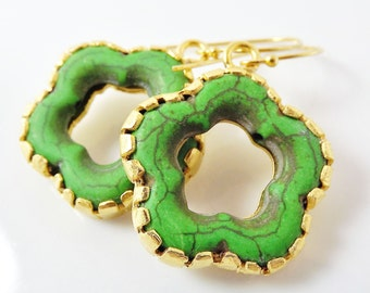 Green Turquoise Flower Earrings With Vermeil Sterling Silver Hooks - Christmas