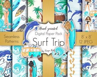 Hawaii Digital Paper, Surfing Digital Paper, Summer Paper Pack, Tropical Digital Paper, Palm Paper, Beach Paper, Ocean Paper Pack, Sea, Surf