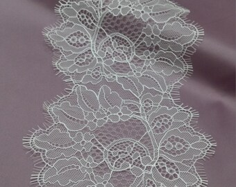Ivory Lace Trimming, French Lace, Chantilly Lace Bridal Gown lace Wedding Lace White Lace Veil lace Scalloped lace Lingerie Lace L1032
