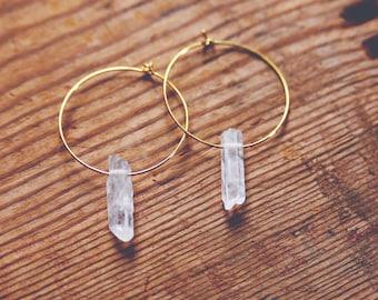 simple crystal hoop earrings.