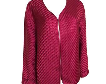 Vintage Pink Woven Silk Jacket, Silk Blazer