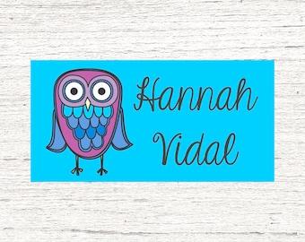 40 Waterproof Baby Bottle Labels - Dishwasher Safe - School Supplies Labels - Daycare School Name Labels - Girl Owl 001
