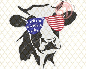 Cow in American Sunglasses Editable vector Cut File .eps .ai .svg and .pdf formats included INSTANT download