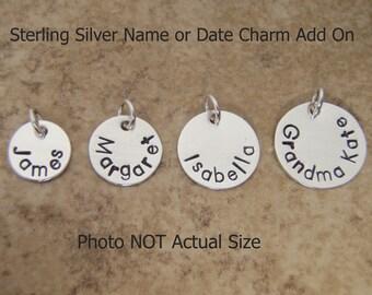 Name charm - Personalized charm - Date charm - Custom Word - Garter charm - Name disc pendant - Sterling silver custom charm