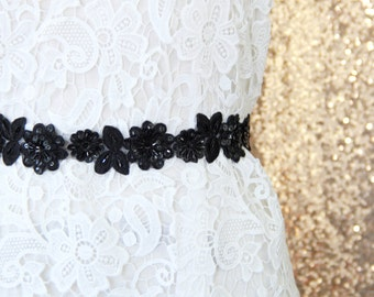 Black Beaded Lace Sash, Black  Lace Headband ,  Bridal Headband, Bridesmaid Sash, Flower Girl Sash,Black Lace Sash Belt /SH-08