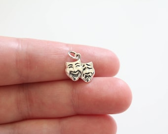 Sterling Silver Theatre Mask Charm, Acting Charm, Comedy and Tragedy Pendant, Actor and Actress Charm, Acting Pendant, Theatre Mask Pendant