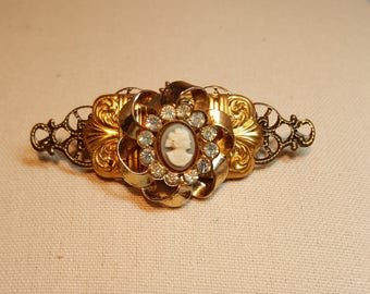 Re-purposed, upcycled assemblage vintage style minianture cameo pin brooch