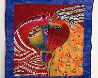 Handmade Iron On Applique*Retired Laurel Burch Embracing Horses fabric*RARE/235