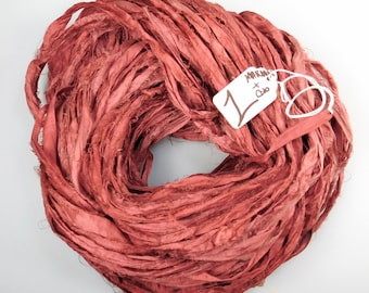 Sari Silk Ribbon, Silk Sari Ribbon, red Ribbon, Rustic red sari ribbon, maroon ribbon, knitting supply, weaving supply, tassel supply