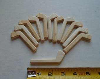 Set of 12 Natural Wood Miniature Decorative Ice Hockey Player Sticks, Wedding Boutonnieres, DIY Pins, Jacobs Wooden Toys