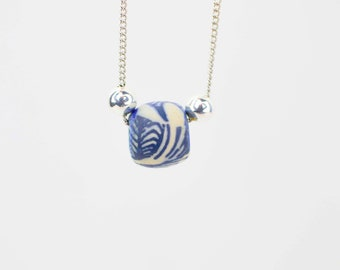 Blue Bead Silver Necklace