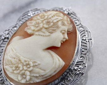 Classic White Gold Filigree Art Deco Cameo Brooch 51J5N8-R