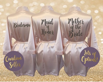 Bridesmaid Robes Bridal Party Satin Robes Bride Wedding Party Robe Blush Pink Ivory Black Gold Custom Personalized Gift Monogrammed Initials