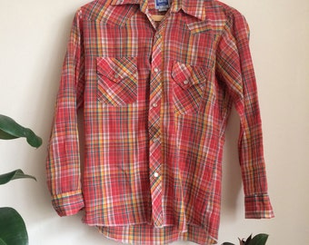 1970s Western Pearl Snap Plaid Shirt Sz Women's UK10