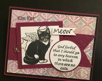 Cat Card Sympathy Pop Up No Cats In Heaven Angel Pet Loss 3D Stampin Up OOAK Mixed Media Handmade