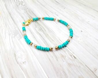 Turquoise dainty bracelet   Tiny turquoise bracelet   turquoise gold bracelet   Turquoise minimalist bracelet  turquoise moonstone pyrite
