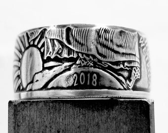 1 oz .999 Pure Silver American Silver Eagle coin Ring