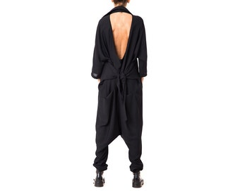 Black Jumpsuit, Women Jumpsuit, Women Overalls, Plus Size Jumpsuit, Harem Jumpsuit, Wide Leg Jumpsuit, Black Romper, Oversized Jumpsuit