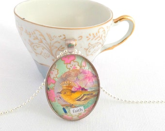 crowned bird necklace, faith jewelry, paper collage pendant, chiyogami paper necklace
