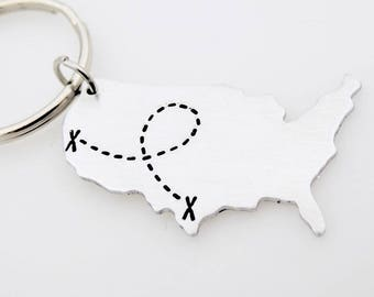 USA map keychain State key chain long distance love relationship going away gift ldr gift for him ldr gift for boyfriend guy ldrship