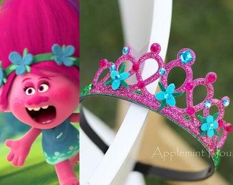 Poppy Birthday Crown, Poppy Headband,Troll headband,Poppy Troll, princess Poppy troll headband,Poppy flower headband,Poppy Birthday Headband