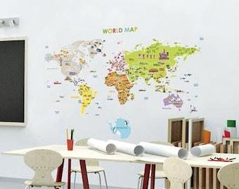 kids world map decals/world map decals stickers/world map baby child wall decor/world map decals/architecture world map decals/sight world