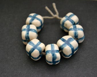 7 white with blue stripes ceramic cube beads, handmade blue crosses white clay beads, jewelry supplies