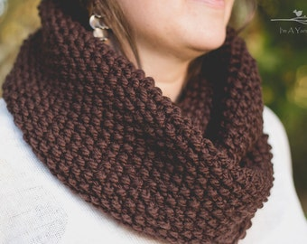 Brown Infinity Scarf, Chunky Brown Infinity, Thick Scarf, Knit Loop Scarf, Infinity Loop, Brown Scarf, Winter Accessories, Christmas Gift