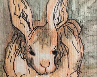 Easter Bunny Rabbit, original watercolor art, framed 8x10