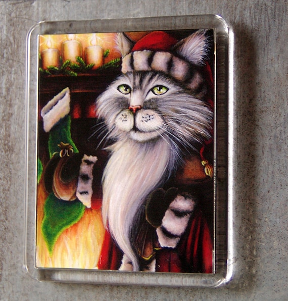 Santa Claus Cat Magnet Christmas Stockings Fireplace Holiday Art Fridge Magnet