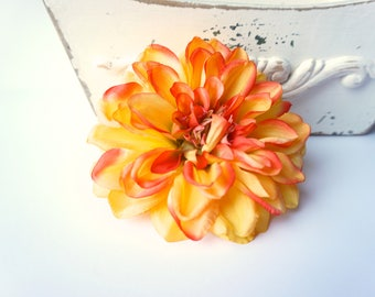 Large Yellow and Orange Hair Flower Dahlia Clip