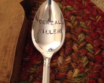 Hand Engraved Silver Spoon, Hand Stamped Silver Spoon, Cereal Killer Spoon, Hostess Gift, Christmas Gift, Stocking Stuffer, Boyfriend Gift