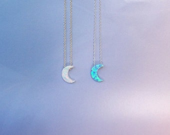 Moon Opal Necklaces • White Moon • Blue Moon • Best Seller Moon Necklace • 8 Chain Lengths • 2 Chain Styles • Waterproof • Moon Gift For Her