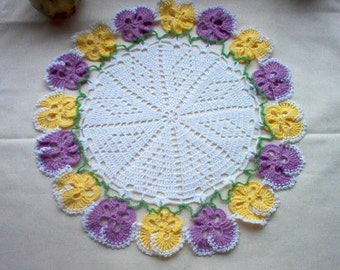 Pretty Pansy Lace Crochet Vintage Style Thread Art Doily New Handmade