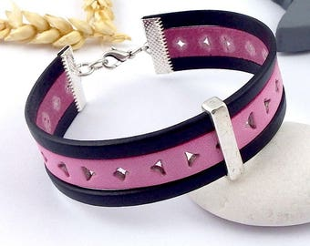 leather pink and Navy promo cuff bracelet tutorial Kit