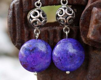 Purple Jasper Stone Drop Earrings - Silver Round Beads, Violet, Vivid Color