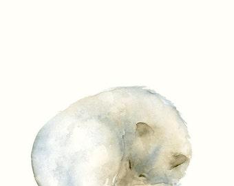 Sleeping Wolf Fine Art Print from Original Watercolor Painting