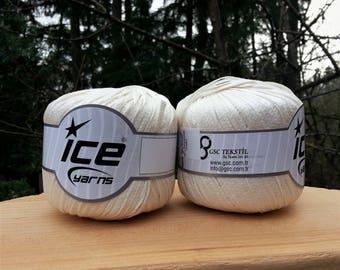 Lot of 2 Skeins Ice Yarns. Cream Ribbon Yarn.  Ice Yarn  50 gram 92 yards. Ribbon Yarn. Vegan Friendly!