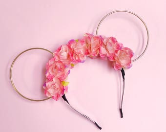 Bright Pink Flower Crown and Gold wire Mouse Ears