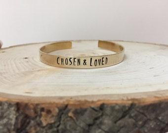 Chosen & Loved Hand Stamped Cuff Bracelet, Hand Stamped Jewelry, Hand Stamped Bracelet