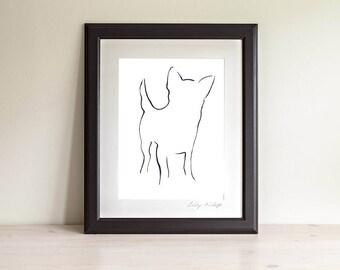Framed Chihuahua Art Prints, Chihuahua Line Art, Chihuahua Gift, Dog Line Art Print, Minimalist Art, Modern Line Drawing, Dog Lover Gift
