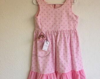 6 Years Girl Dress w/Crochet Headband_Pink Polkadots