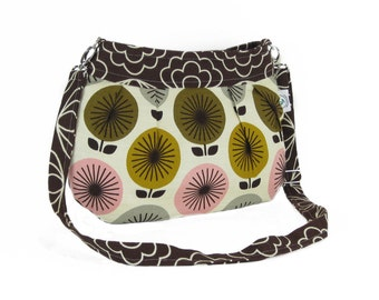 Organic Handmade Little Sophisticate Cross Body Sling Purse - Brown Blossom with Retro Flowers - Free Shipping